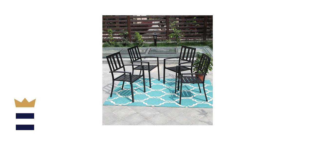 PHI VILLA Outdoor Patio Steel Frame Slat Seat Dining Arm Chairs