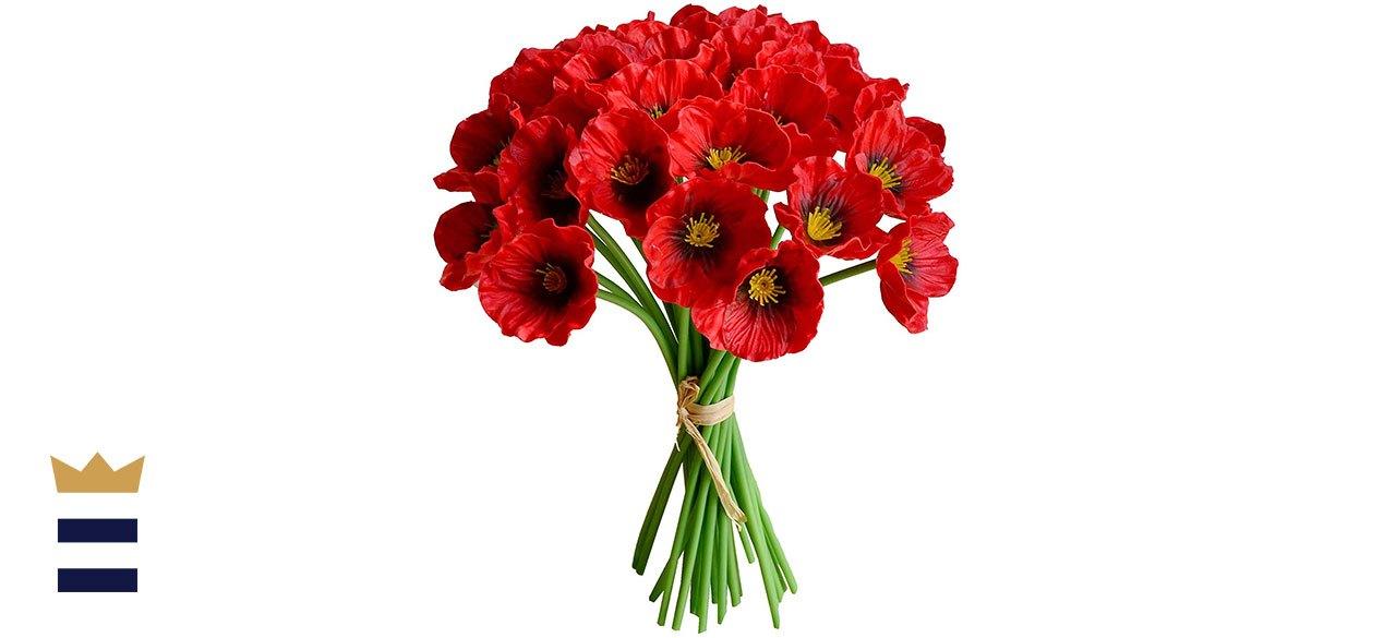 Mandy's 30pcs Red Artificial Poppy Silk Flowers
