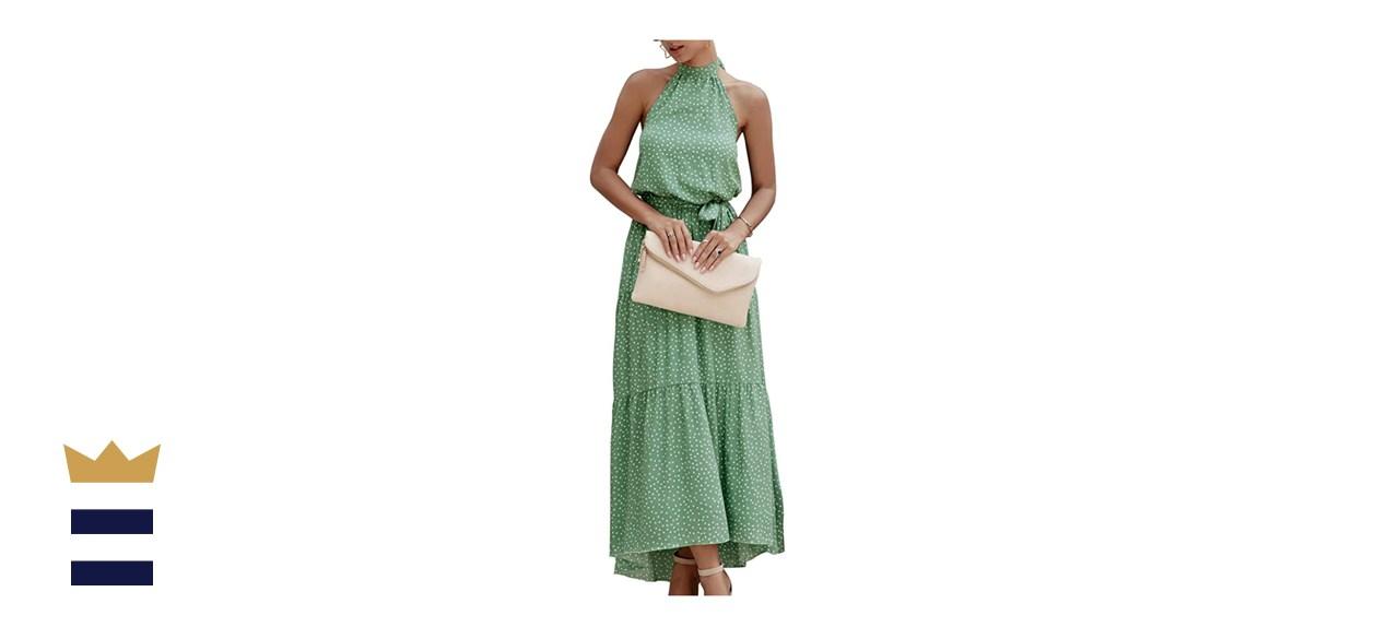 PRETTY GARDEN Casual Halter Maxi Dress
