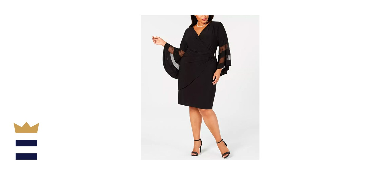 R & M Richards Plus-Size Illusion Bell-Sleeve Dress