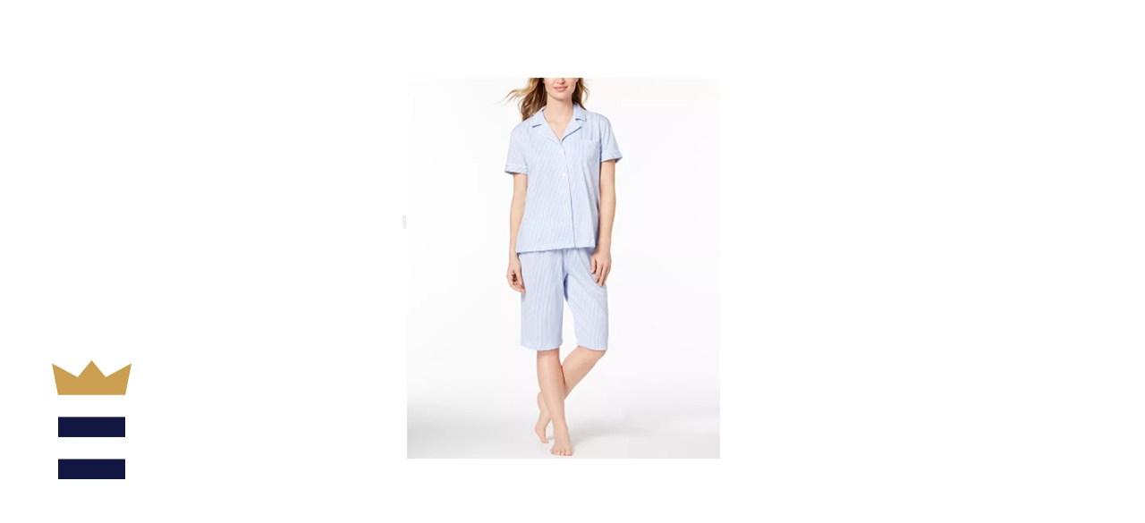 Ralph Lauren Bingham Bermuda Printed Cotton Pajama Set