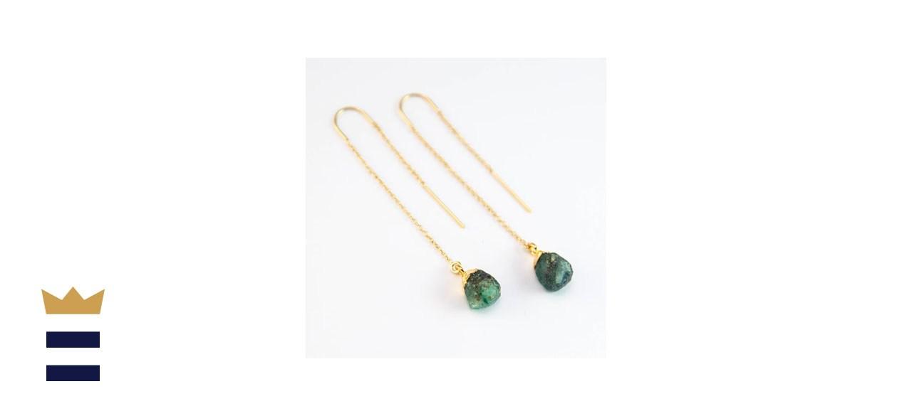 Raw Emerald Gemstone Drop Earrings