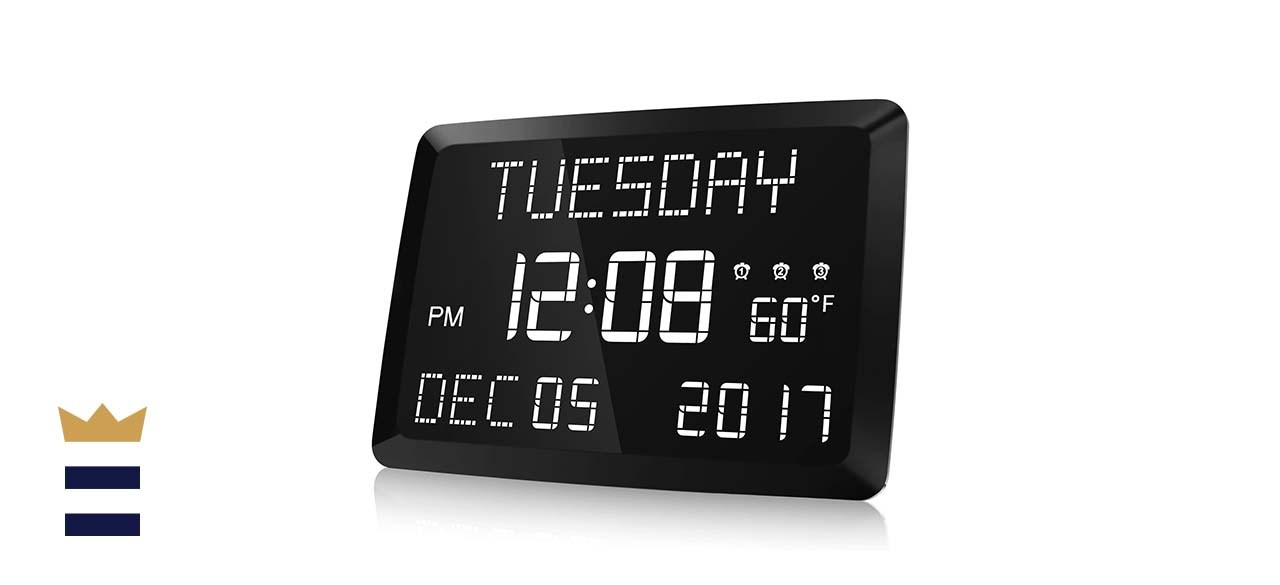 Raynic 11.5-Inch Large LED Dimmable Word Display Digital Wall Clock