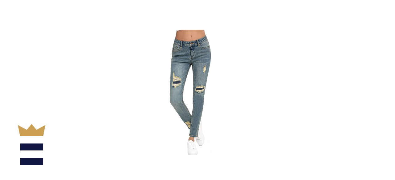 Resfeber Women_s Ripped Boyfriend Jeans Cute Distressed Jeans Stretch Skinny Jeans with Hole