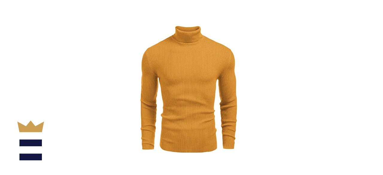 Coofandy Ribbed Slim Fit Knitted Turtleneck Sweater