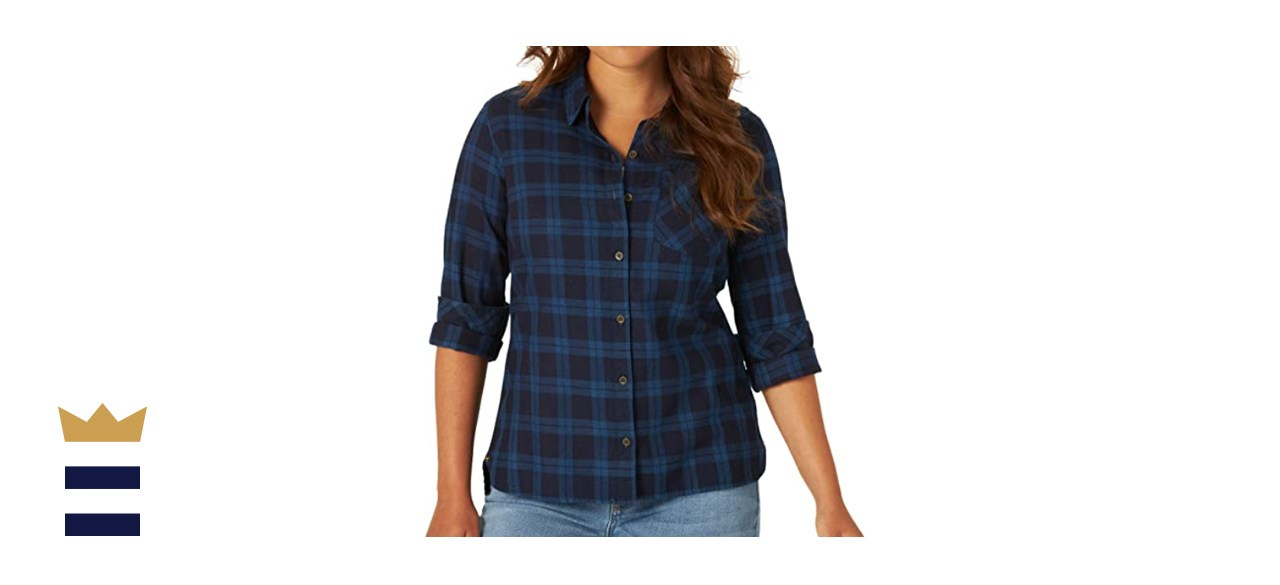 Riders by Lee Indigo Women's Heritage Long Sleeve Button Front Plaid Flannel Shirt