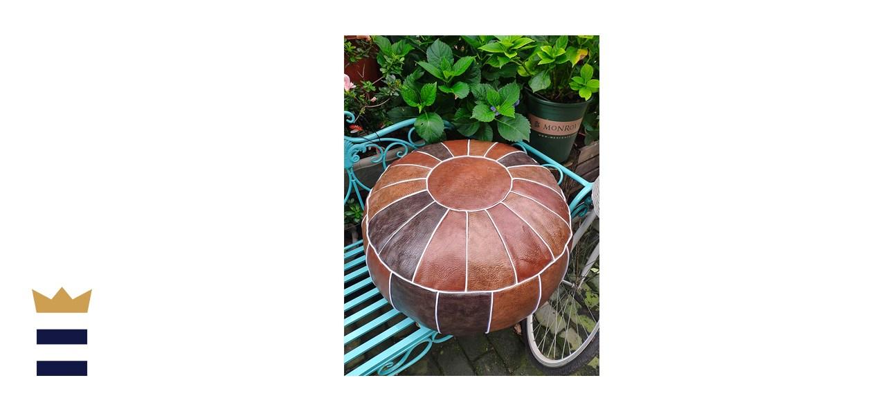 RISEON BoHo Handmade Faux PU Leather Handmade Moroccan Pouf