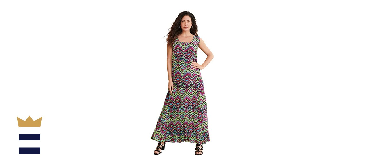 Roamans Plus Size Button-Front Everywhere Crinkle Dress