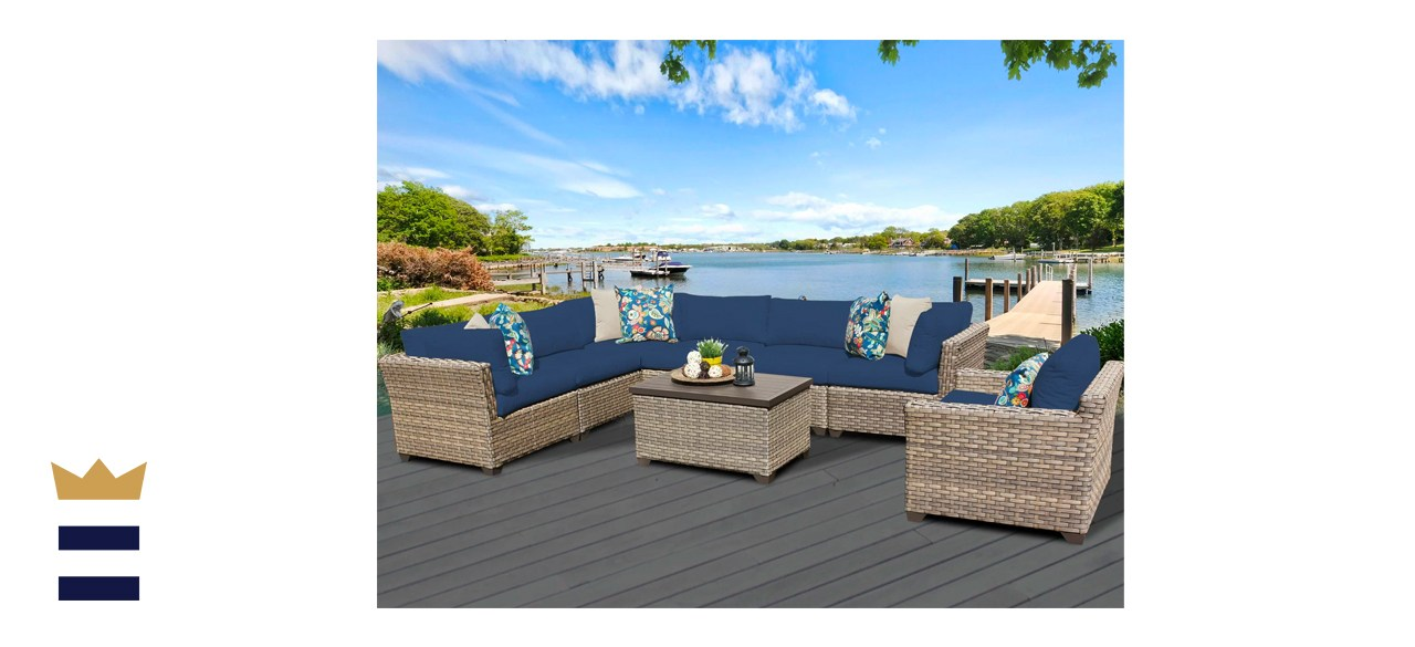 Rochford Wicker Rattan 7 Person Seating Group with Cushions