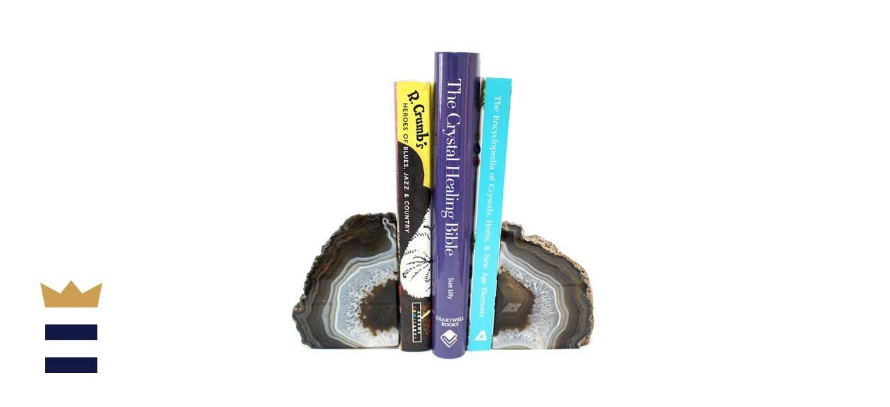 RockParadise Natural Agate Geode Bookend Pair