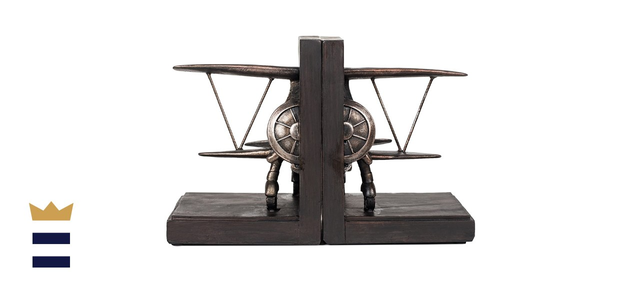 Roman Store Airplane Pewter Finish Bookends