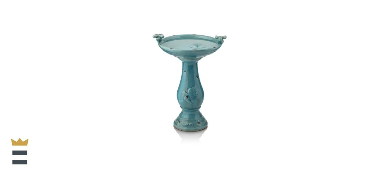 Rosalind Wheeler Ceramic Pedestal Bird Bath