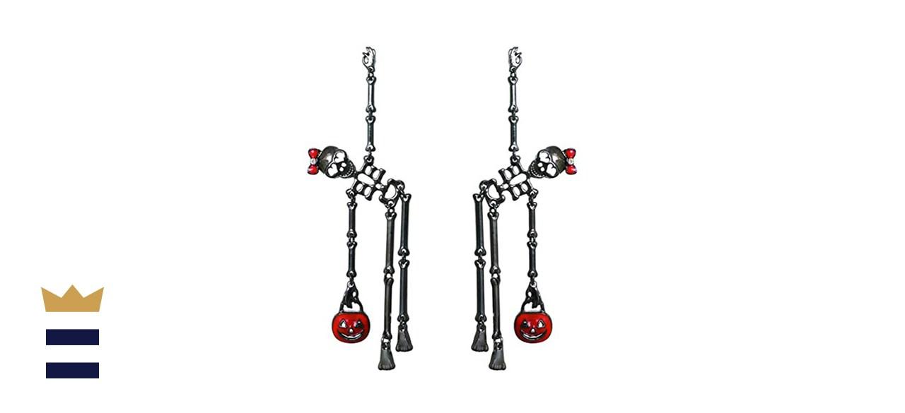 Rosemarie Collections Dancing Skeletons Halloween Earrings