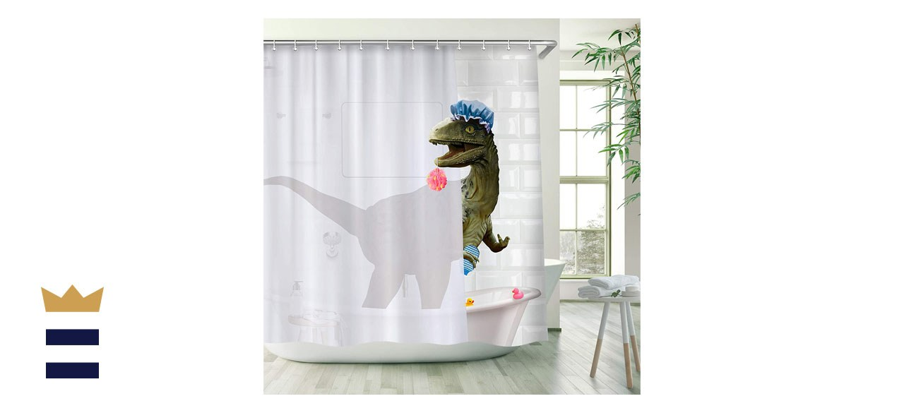 Image of a shower curtain depicting a dinosaur