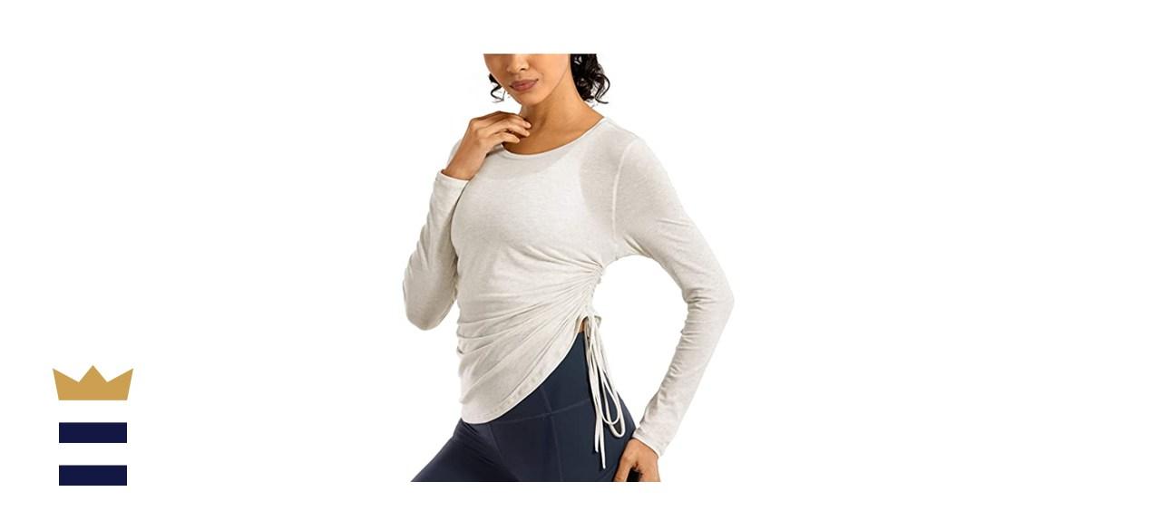 CRZ YOGA Women's Pima Cotton Workout Long Sleeve Shirts