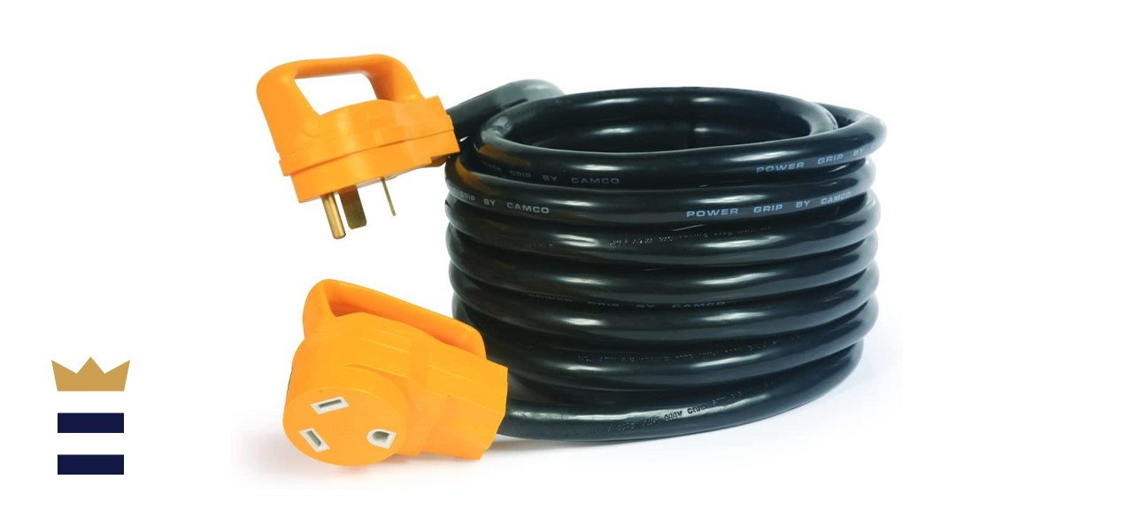 Camco (55191) 25' PowerGrip 30-Amp Extension Cord for RV and Auto