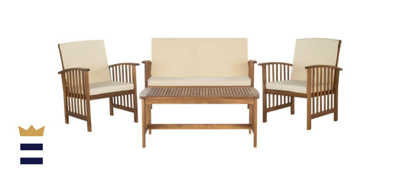 Safavieh Rocklin Teak 4-Piece Patio Set