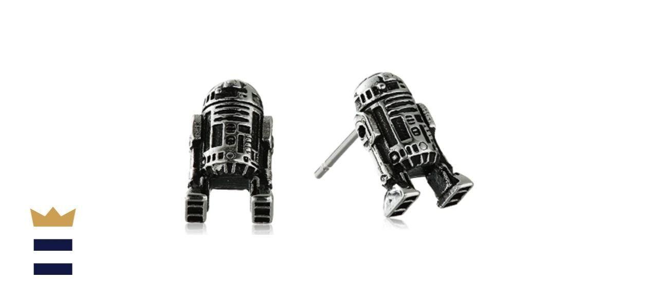 Star Wars Jewelry Unisex R2-D2 Stainless Steel 3D Cast Stud Earrings