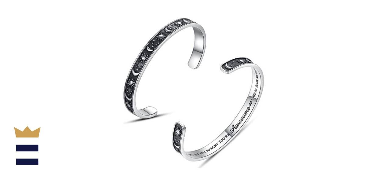 SAM & LORI Inspirational Cuff Bracelet Bangle Motivational Mantra - You're Awesome