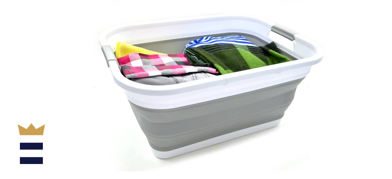 SAMMART Set of Two Collapsible Plastic Laundry Baskets