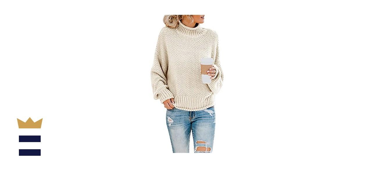 Saodimallsu Turtleneck Oversized Batwing Chunky Knit Sweater