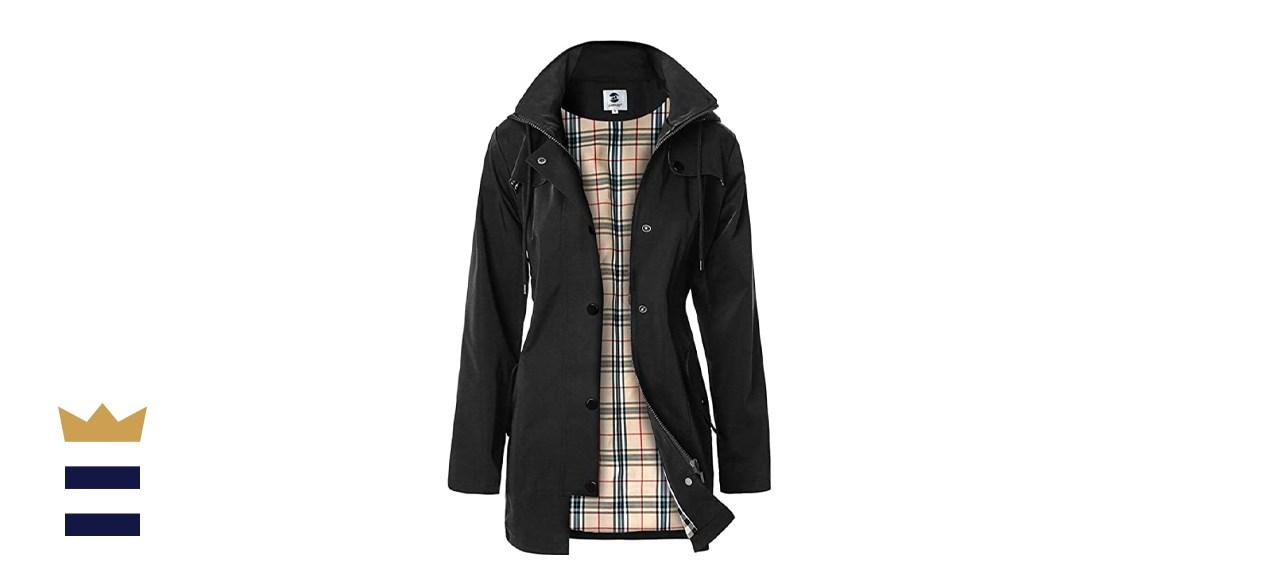 SaphiRose Women's Long Hooded Raincoat Windbreaker