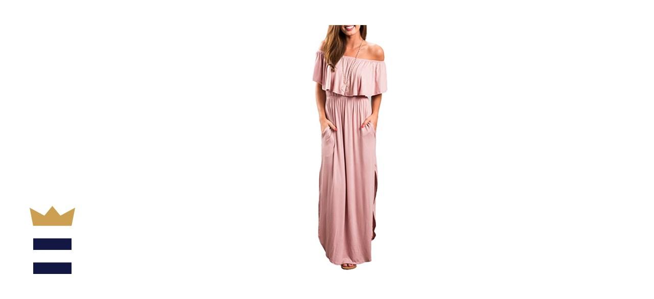 Sarin Mathews Off the Shoulder Ruffle Party Maxi Dress