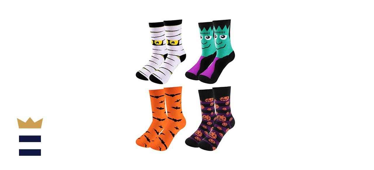 SATINIOR 4 Pairs Halloween Novelty Socks