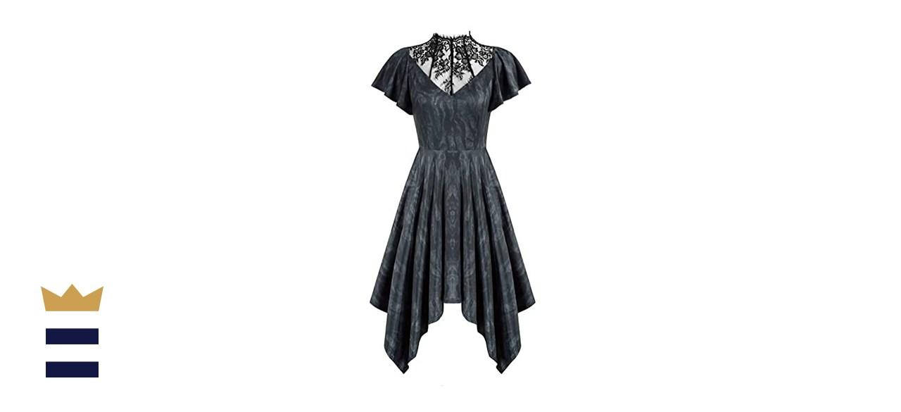 Scarlet Darkness Lace Neck Cocktail Dress
