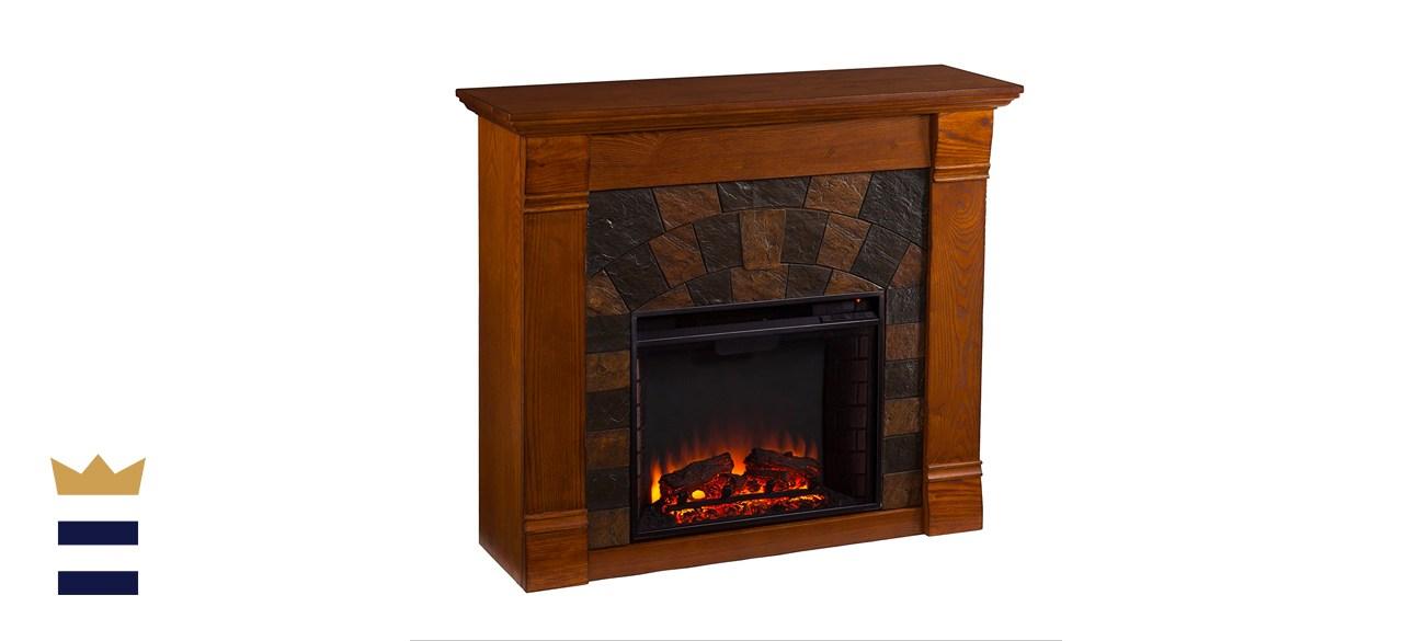 SEI Furniture Elkmont Earth Tone Tile Electric Fireplace
