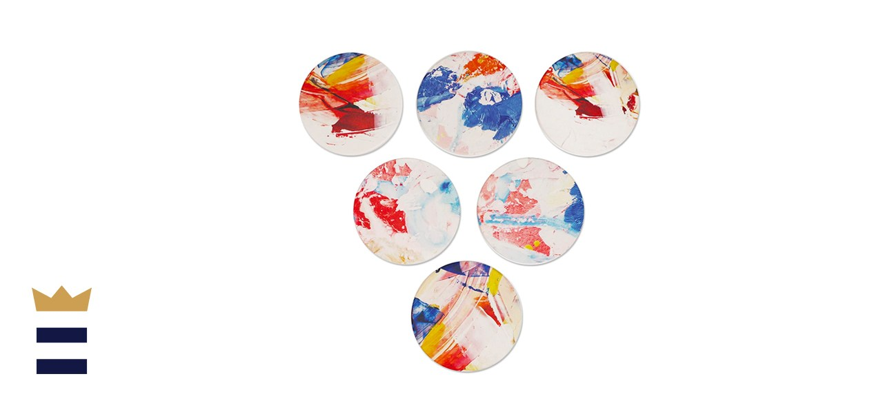 Set of 6 Abstract Painted Coasters