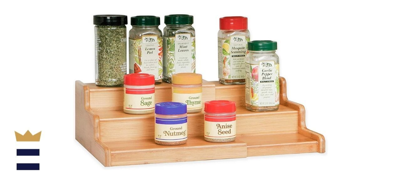 Seville Classics' Three-Tier Expandable Bamboo Spice Rack