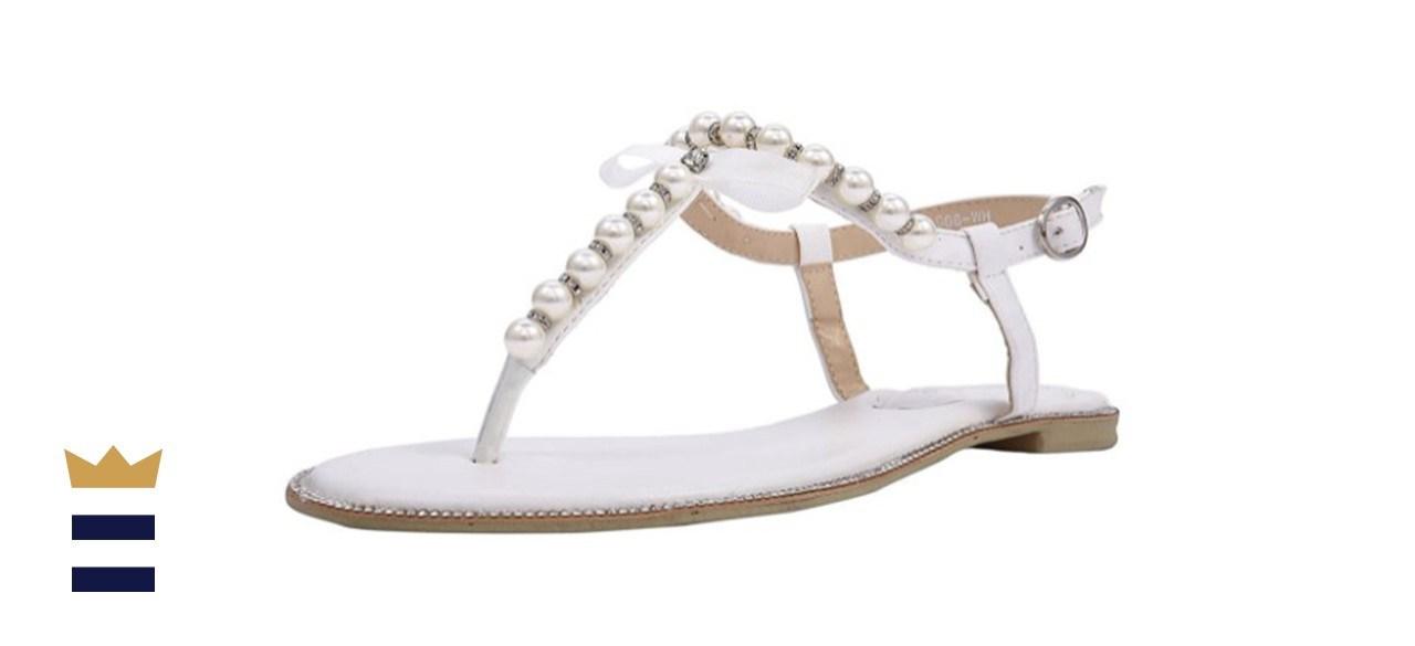 ShoeSole Pearl T-Strap Flat Bridal Sandals