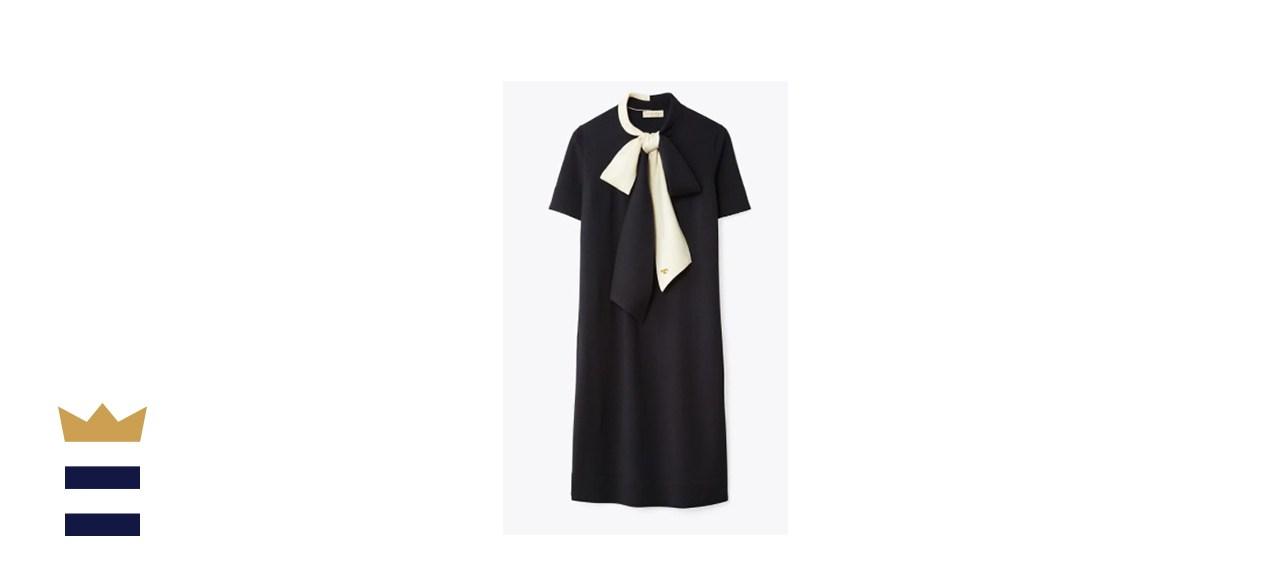Short-Sleeve Bow Sweater Dress