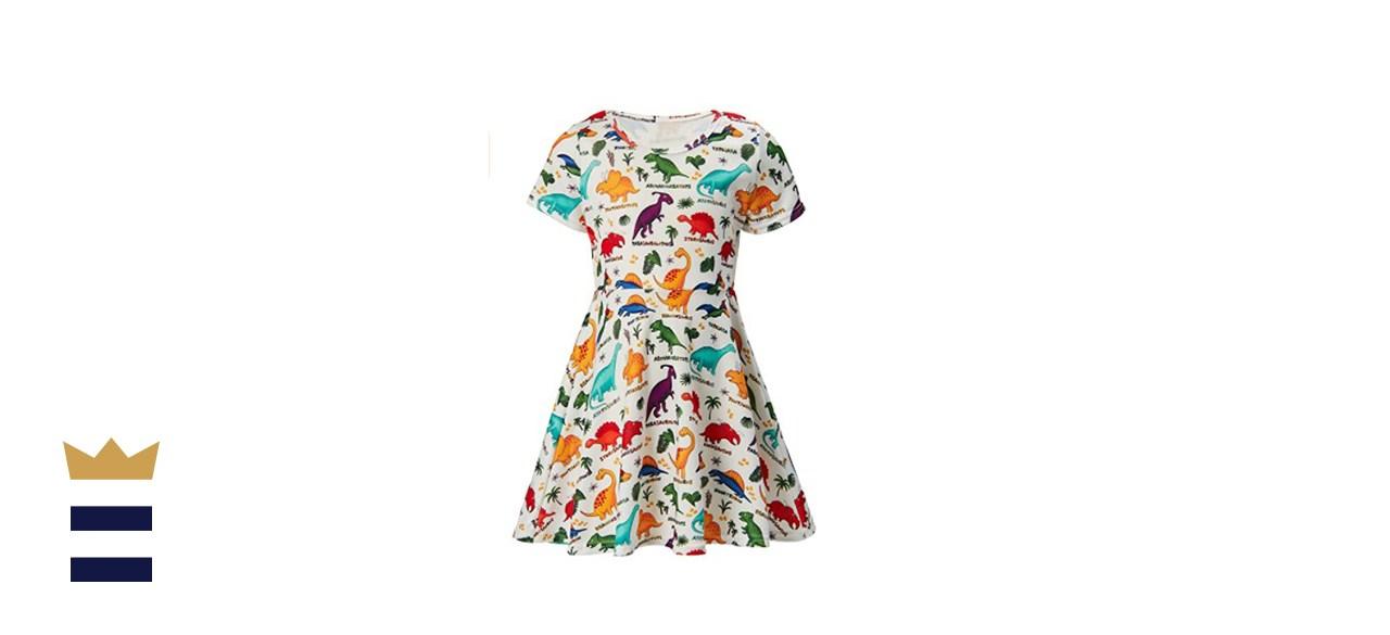 Raisevern Girl's Short-Sleeve Swing Dress