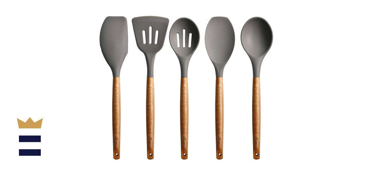 Miusco Non-Stick Silicone Cooking Utensils Set with Natural Acacia Hard Wood Handle