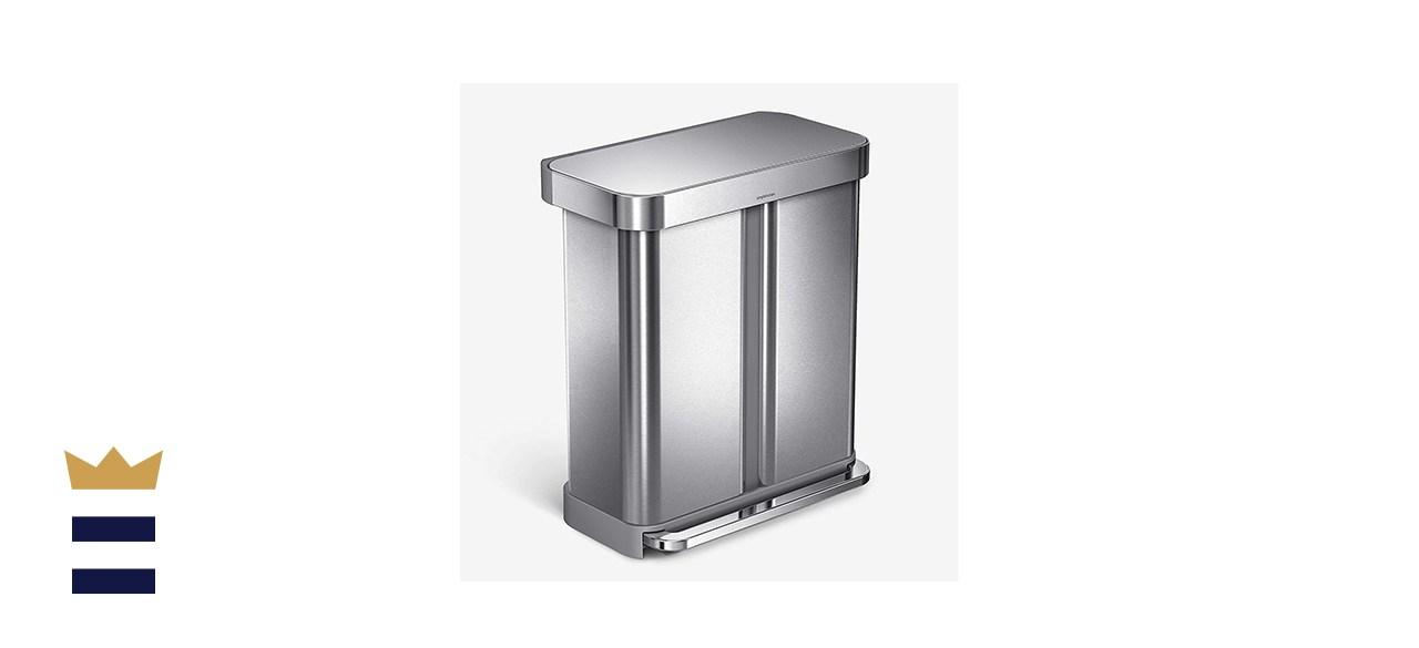 Simplehuman Dual Compartment Rectangular 58-Liter Step Trash Can