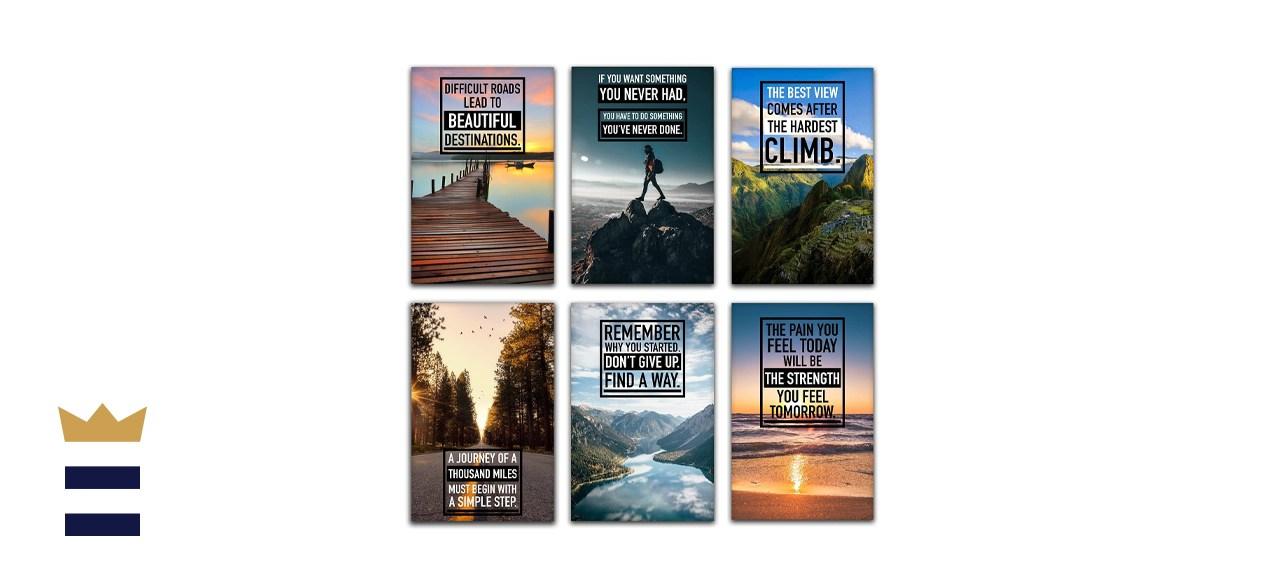 six-piece motivational wall art set