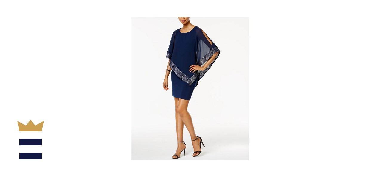 SL Fashions Metallic Trim Capelet Sheath Dress