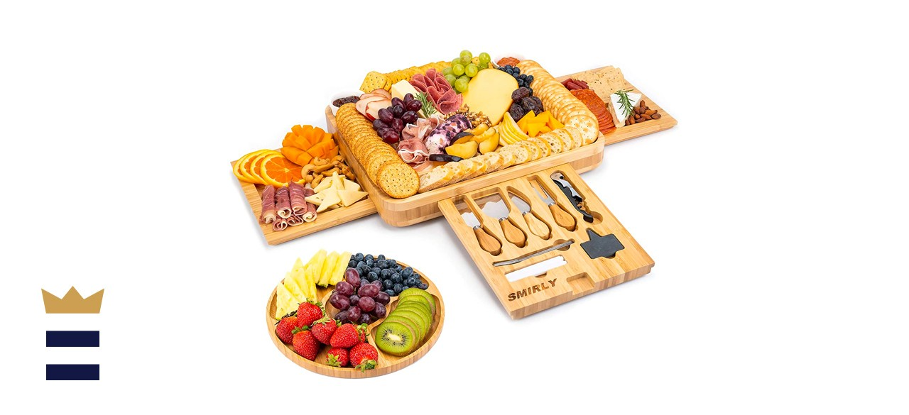 Smirly Cheese Wood Charcuterie Board and Knife Set