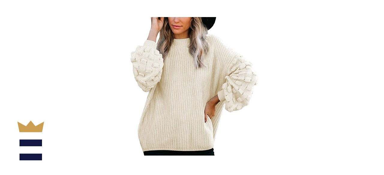 Sovoyontee Women's Oversized Puff Sleeves Chunky Knit Pullover Sweater