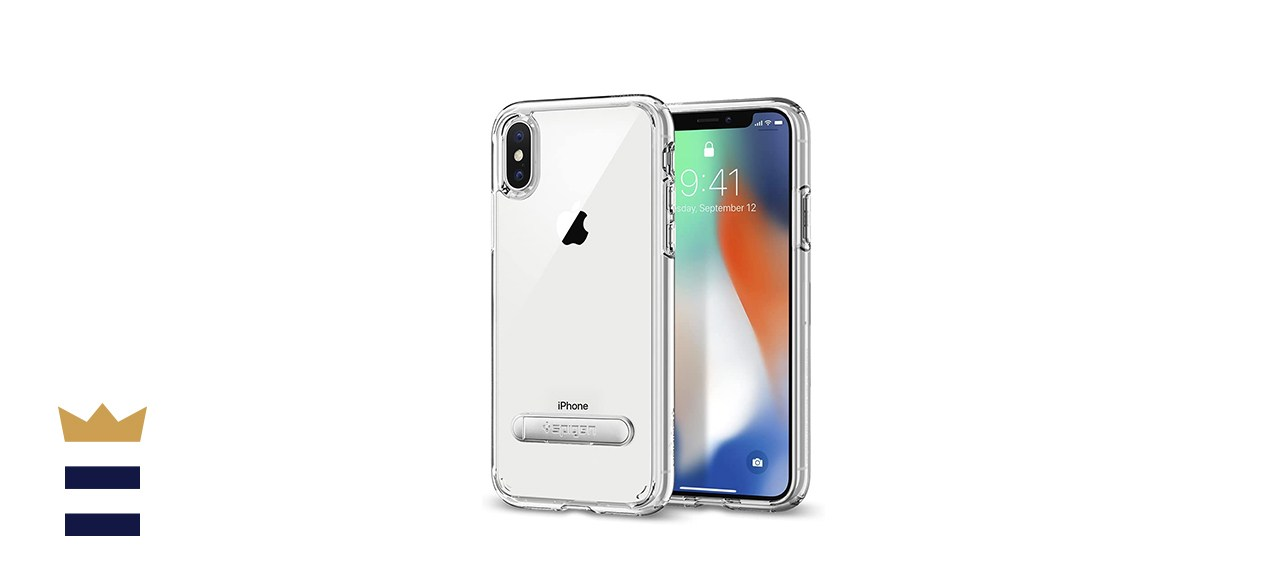 Spigen Clear and Magnetic Metal Kickstand for Apple iPhone X
