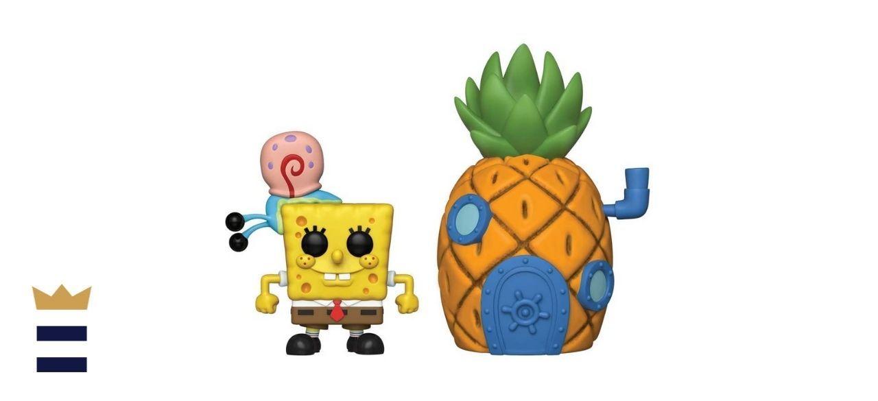 Spongebob next to his pineapple house
