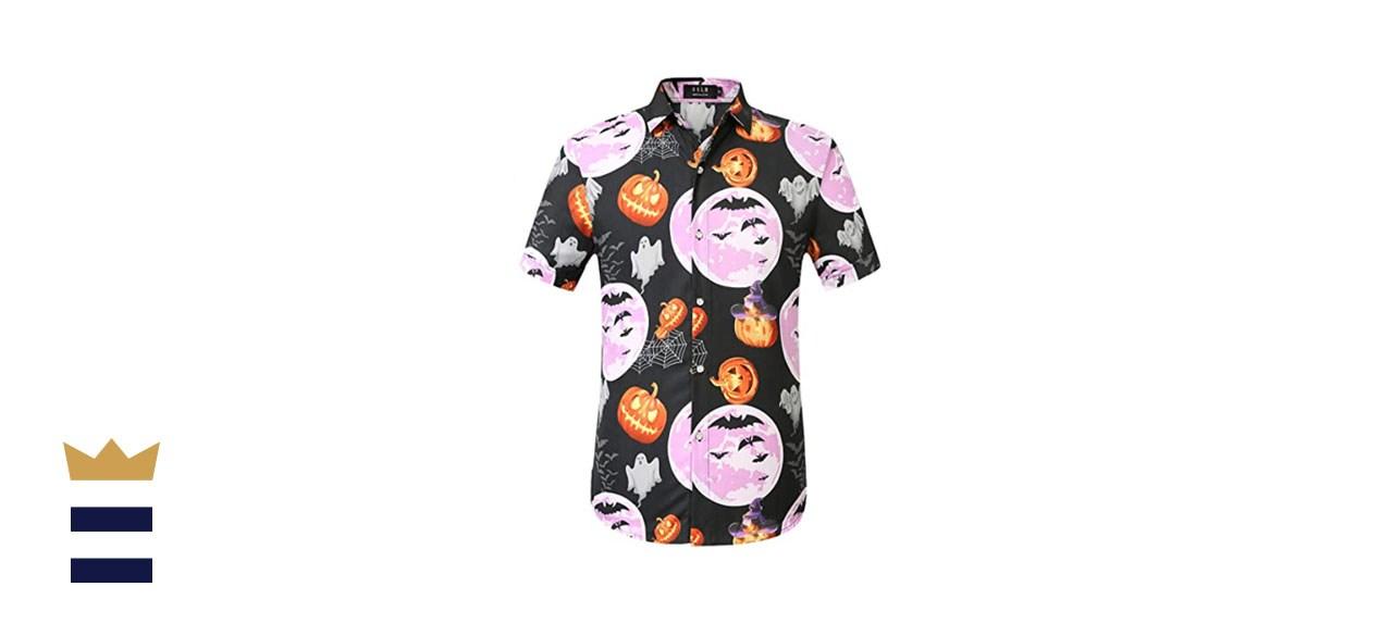 SSLR Mens Halloween Shirt Pumpkins Short Sleeve Button Down Shirts