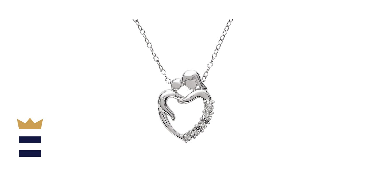 Sterling Silver Diamond Diamond Accent Mom Heart Pendant