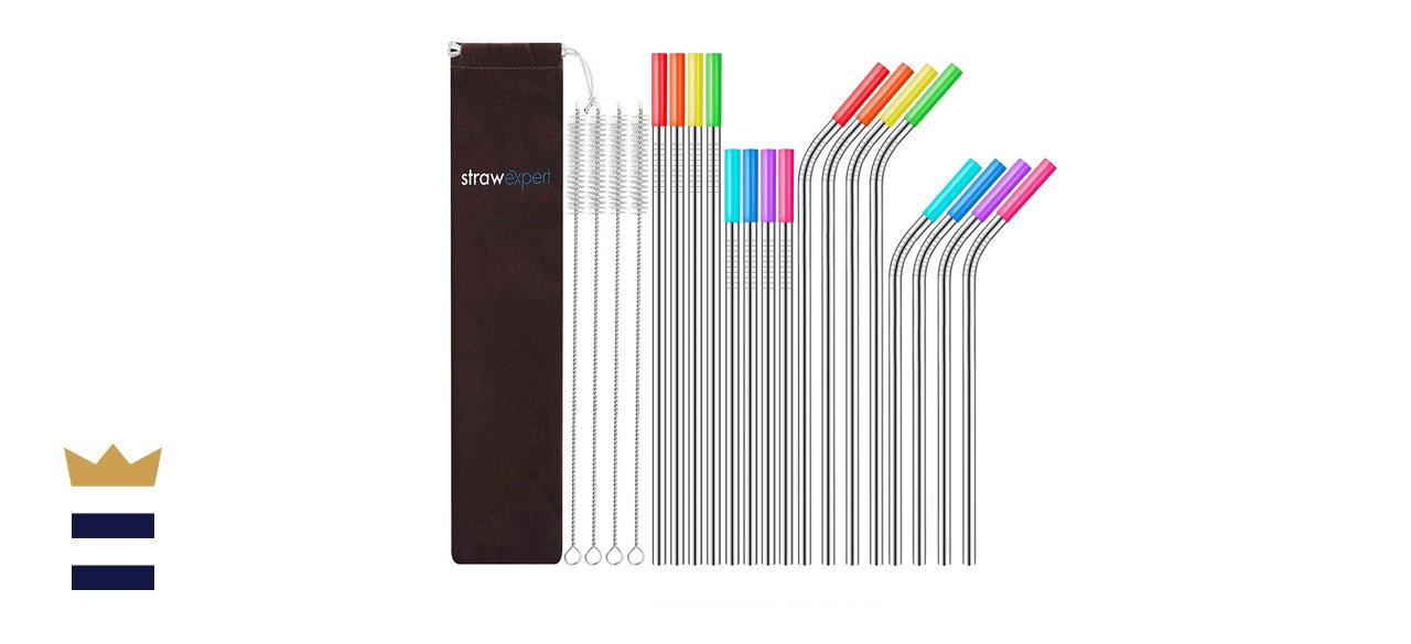 StrawExpert Reusable Stainless Steel Straws with Travel Case