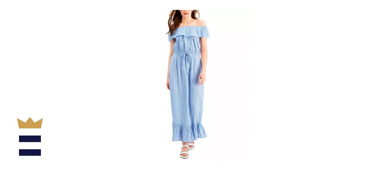 Style & Co. Petite Printed Off-the-Shoulder Ruffle Maxi Dress