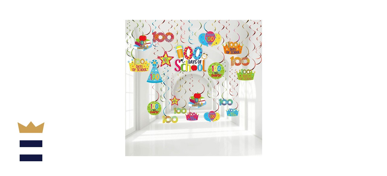 Sumind Store 30 Pieces of 100 Days of School Hanging Swirls