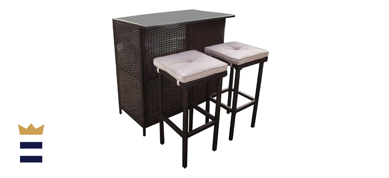 Suncrown 3-Piece Outdoor Wicker Bar Set