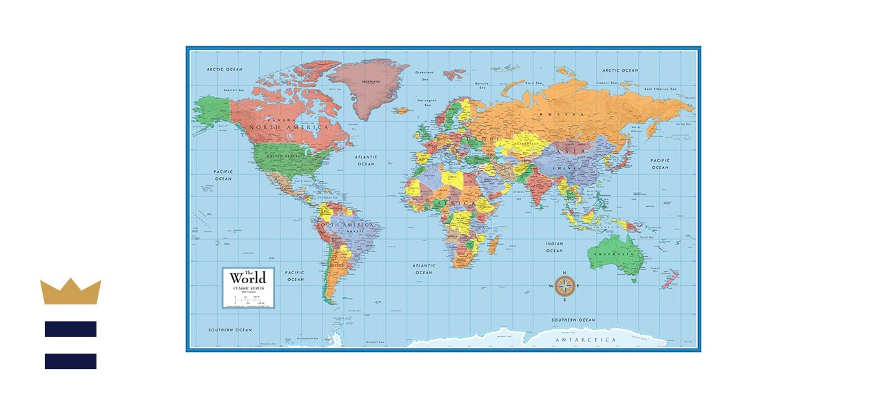 "Swiftmaps 36"" x 24"" World Classic Elite Map"